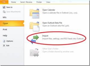 Import   Microsoft  Outlook 2010