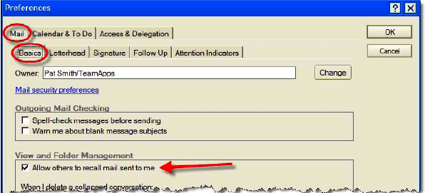 Prevent others from recalling message - lotus notes
