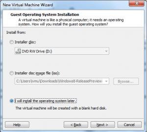 Windows 8 Release Preview -Vmware