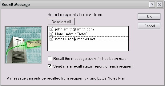 recall lotus notes message