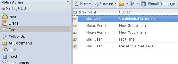 recall unread sent email in lotus notes