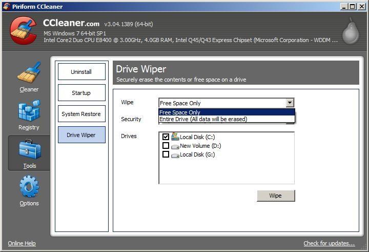 Drive Wiper   Permanently Delete Files