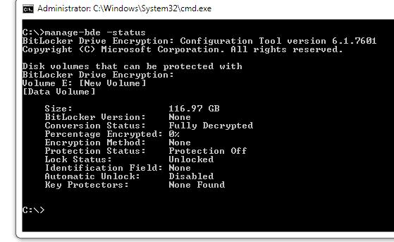 View the status of Bitlocker