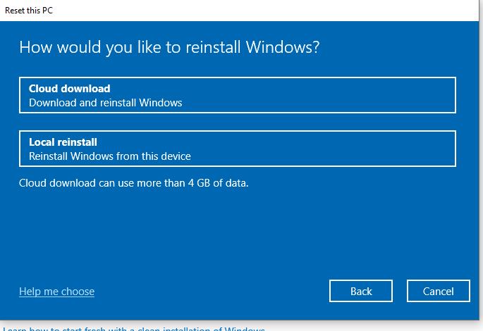 reinstall Windows - Reset this PC