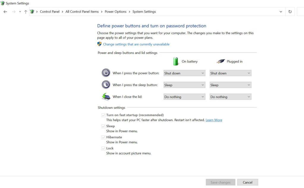 hibernation in Windows 10 computer